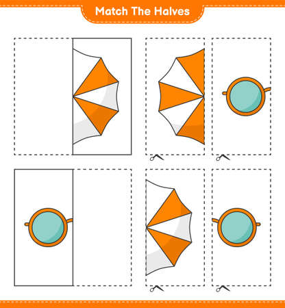 Match the halves. Match halves of Beach Umbrella and Sunglasses. Educational children game, printable worksheet, vector illustration Ilustração