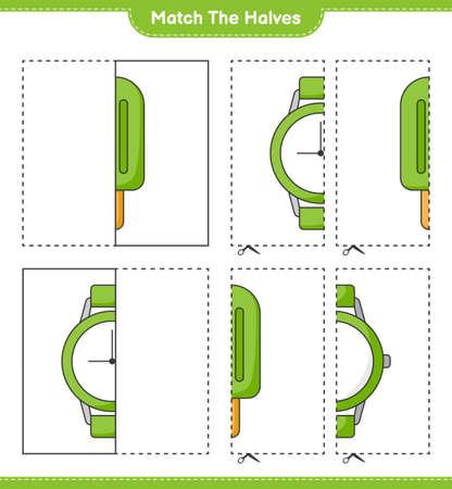 Match the halves. Match halves of Ice Cream and Watches. Educational children game, printable worksheet, vector illustration Ilustração