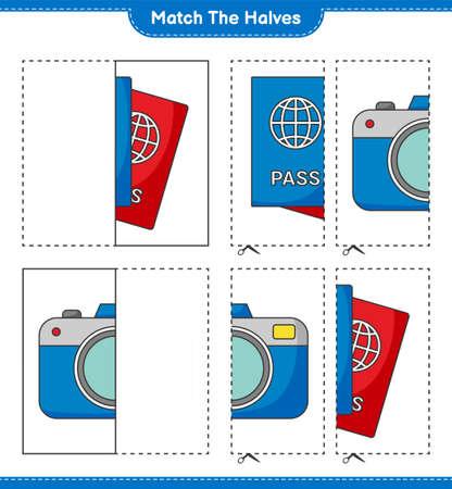 Match the halves. Match halves of Passport and Camera. Educational children game, printable worksheet, vector illustration Ilustração