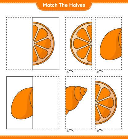 Match the halves. Match halves of Orange and Sea Shells. Educational children game, printable worksheet, vector illustration