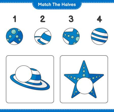 Match the halves. Match halves of Summer Hat and Starfish. Educational children game, printable worksheet, vector illustration Ilustração