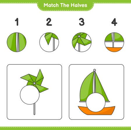 Match the halves. Match halves of Sailboat and Pinwheels. Educational children game, printable worksheet, vector illustration