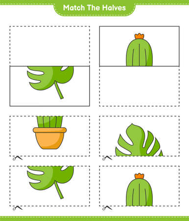 Match the halves. Match halves of Cactus and Monstera. Educational children game, printable worksheet, vector illustration