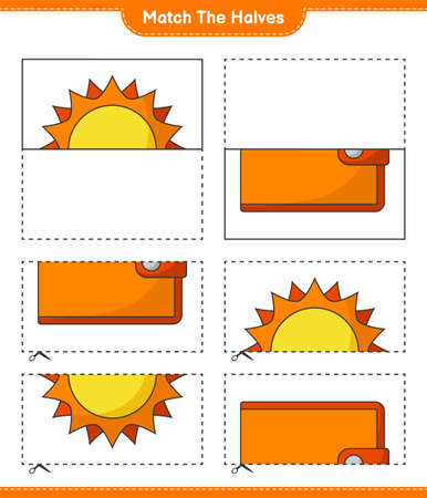 Match the halves. Match halves of Sun and Wallet. Educational children game, printable worksheet, vector illustration