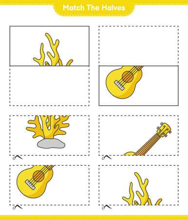 Match the halves. Match halves of Ukulele and Coral. Educational children game, printable worksheet, vector illustration Ilustração