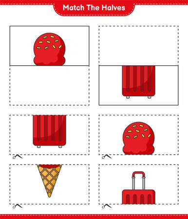 Match the halves. Match halves of Ice Cream and Travel Bag. Educational children game, printable worksheet, vector illustration