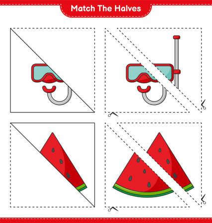 Match the halves. Match halves of Watermelon and Scuba Diving Mask. Educational children game, printable worksheet, vector illustration Ilustração