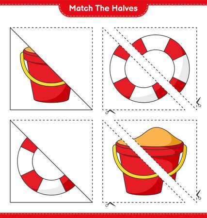 Match the halves. Match halves of Sand Bucket and Lifebuoy. Educational children game, printable worksheet, vector illustration