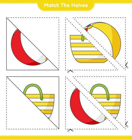 Match the halves. Match halves of Beach Bag and Beach Ball. Educational children game, printable worksheet, vector illustration