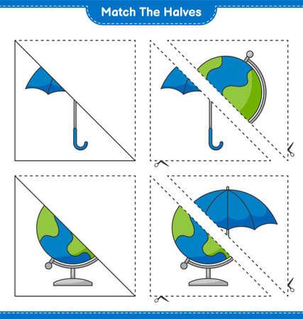 Match the halves. Match halves of Umbrella and Globe. Educational children game, printable worksheet, vector illustration