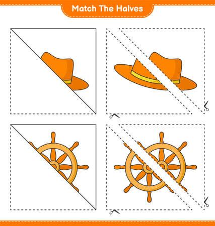 Match the halves. Match halves of Ship Steering Wheel and Summer Hat. Educational children game, printable worksheet, vector illustration