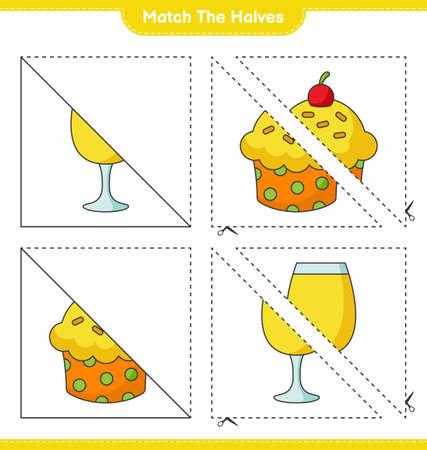 Match the halves. Match halves of Cup Cake and Cocktail. Educational children game, printable worksheet, vector illustration Ilustração
