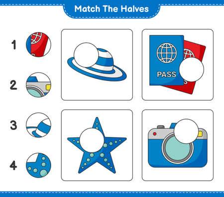 Match the halves. Match halves of Summer Hat, Passport, Camera, and Starfish. Educational children game