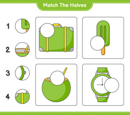 Match the halves. Match halves of Luggage, Ice Cream, Coconut, and Watches. Educational children game
