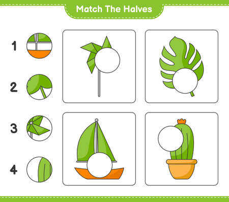 Match the halves. Match halves of Pinwheels, Cactus, Monstera, and Sailboat. Educational children game