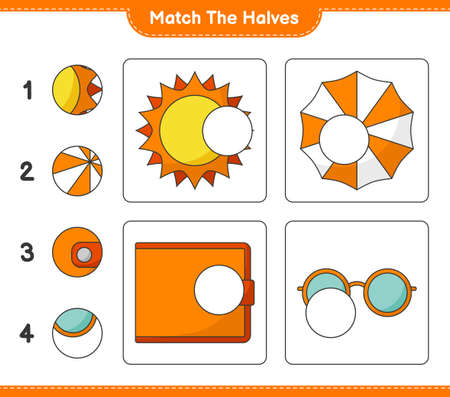 Match the halves. Match halves of Sun, Beach Umbrella, Wallet, and Sunglasses. Educational children game
