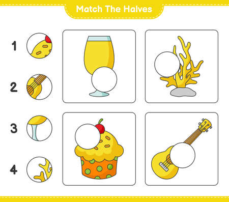 Match the halves. Match halves of Cocktail, Cup Cake, Ukulele, and Coral. Educational children game