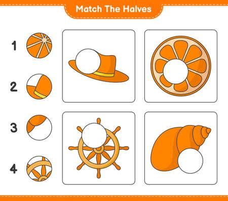 Match the halves. Match halves of Summer Hat, Orange, Ship Steering Wheel, and Sea Shells. Educational children game Ilustração