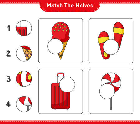 Match the halves. Match halves of Ice Cream, Flip Flop, Travel Bag, and Candy. Educational children game