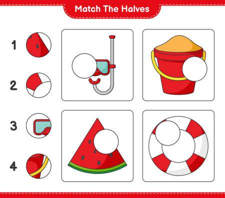 Match the halves. Match halves of Scuba Diving Mask, Sand Bucket, Watermelon, and Lifebuoy. Educational children game Ilustração