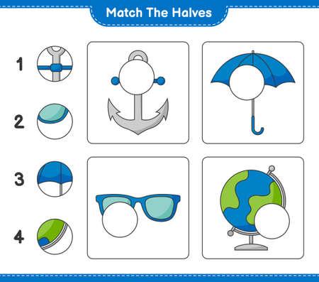 Match the halves. Match halves of Globe, Sunglasses, Umbrella, and Anchor. Educational children game Ilustração