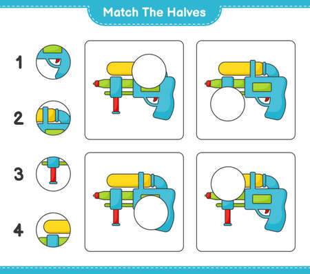 Match the halves. Match halves of Water Gun. Educational children game, printable worksheet vector illustration.