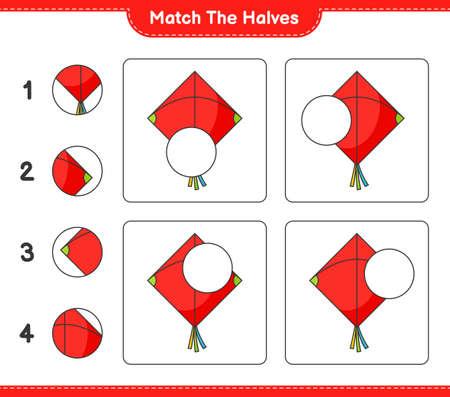 Match the halves. Match halves of Kite. Educational children game, printable worksheet vector illustration.