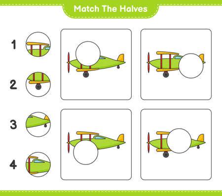 Match the halves. Match halves of Plane. Educational children game, printable worksheet vector illustration.