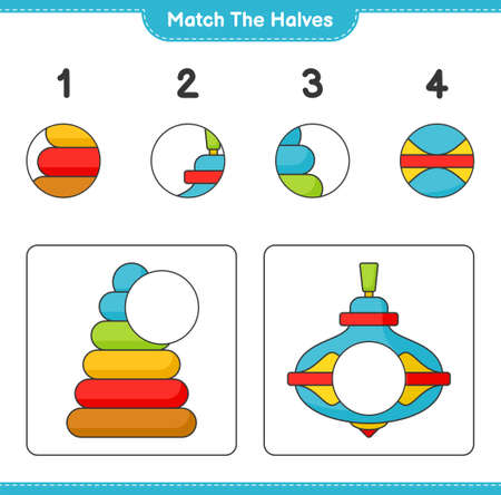Match the halves. Match halves of Pyramid Toy and Whirligig Toy. Educational children game, printable worksheet vector illustration.