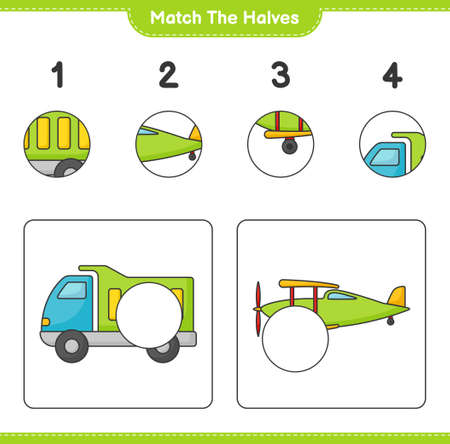 Match the halves. Match halves of Lorry and Plane.Educational children game, printable worksheet vector illustration.