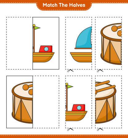 Match the halves. Match halves of Boat and Drum. Educational children game, printable worksheet vector illustration. Illustration