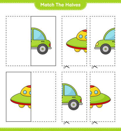 Match the halves. Match halves of Car and Ufo. Educational children game, printable worksheet vector illustration. Illustration