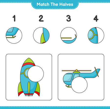 Match the halves. Match halves of Rocket and Helicopter. Educational children game, printable worksheet vector illustration.