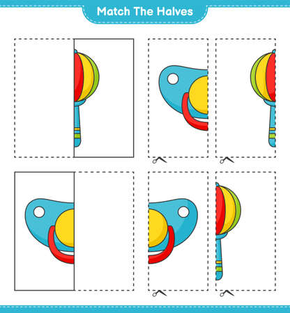 Match the halves. Match halves of Baby Rattle and Pacifier. Educational children game, printable worksheet vector illustration.