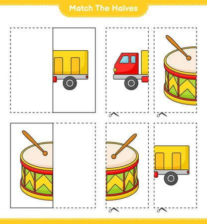Match the halves. Match halves of Lorry and Drum. Educational children game, printable worksheet vector illustration. Illustration