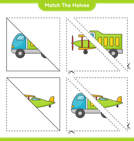 Match the halves. Match halves of Lorry and Plane. Educational children game, printable worksheet vector illustration.