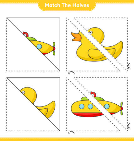 Match the halves. Match halves of Submarine and Rubber Duck. Educational children game, printable worksheet vector illustration.