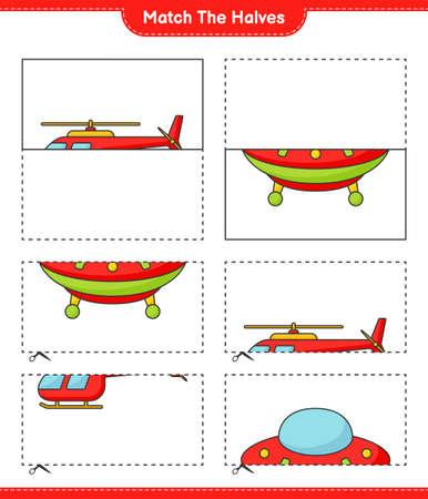 Match the halves. Match halves of Helicopter and Ufo. Educational children game, printable worksheet vector illustration. Illustration