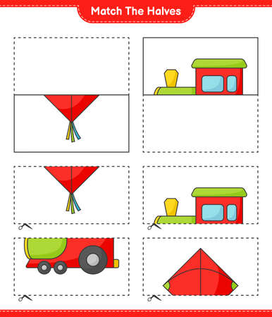 Match the halves. Match halves of Kite and Train. Educational children game, printable worksheet vector illustration.