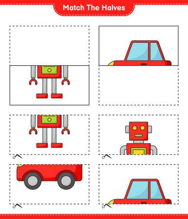 Match the halves. Match halves of Robot Character and Car. Educational children game, printable worksheet vector illustration.