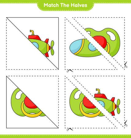 Match the halves. Match halves of Submarine and Pacifier. Educational children game, printable worksheet vector illustration. Illustration