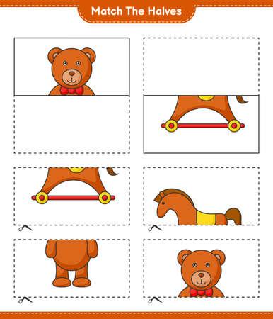 Match the halves. Match halves of Teddy Bear and Rocking Horse. Educational children game, printable worksheet vector illustration.