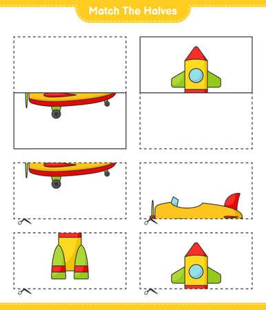 Match the halves. Match halves of Plane and Rocket. Educational children game, printable worksheet vector illustration.