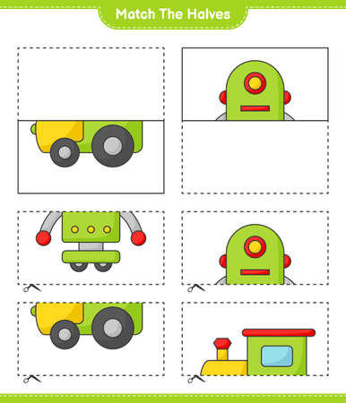 Match the halves. Match halves of Train and Robot Character. Educational children game, printable worksheet vector illustration. Illustration