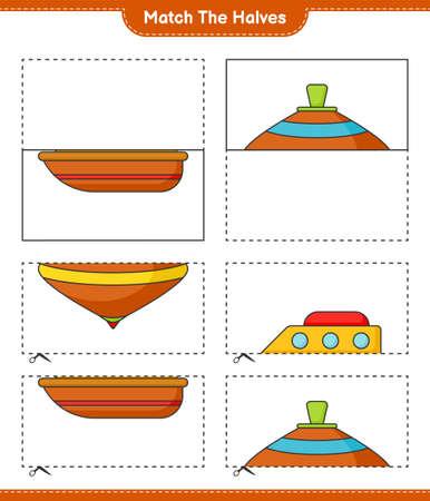 Match the halves. Match halves of Boat and Whirligig Toy. Educational children game, printable worksheet vector illustration.