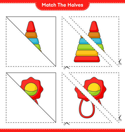 Match the halves. Match halves of Pyramid Toy and Baby Rattle. Educational children game, printable worksheet vector illustration.