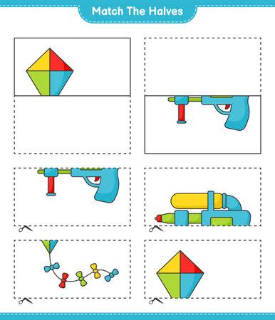 Match the halves. Match halves of Kite and Water Gun. Educational children game, printable worksheet vector illustration.