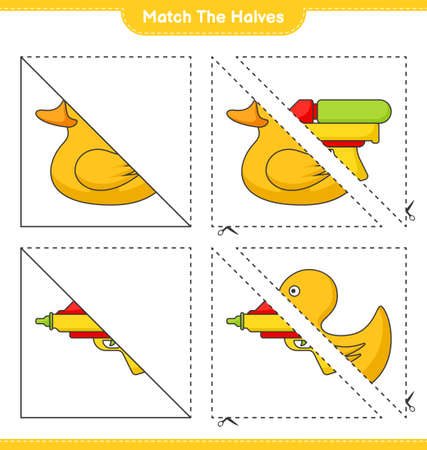 Match the halves. Match halves of Rubber Duck and Water Gun. Educational children game, printable worksheet vector illustration.