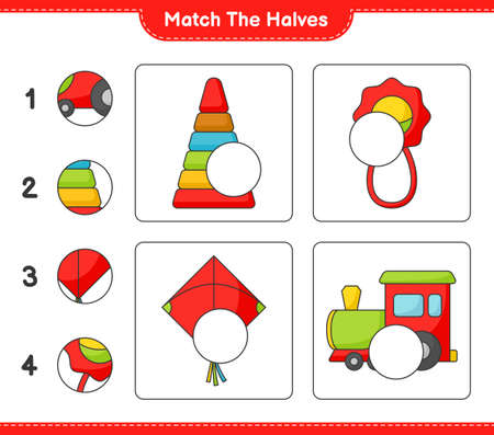 Match the halves. Match halves of Pyramid Toy, Baby Rattle, Kite, and Train. Educational children game, printable worksheet vector illustration.