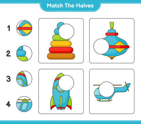Match the halves. Match halves of Pyramid Toy, Whirligig Toy, Rocket, and Helicopter. Educational children game, printable worksheet vector illustration.